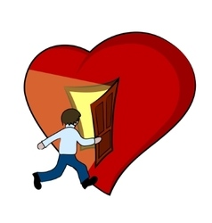 Creative of a heart with open door vector image vector image
