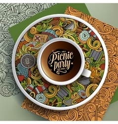 Cup of coffee and hand drawn picnic doodles vector