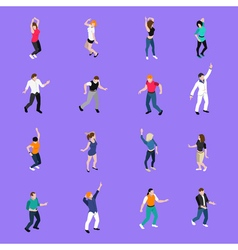 Dancing people movements isometric icons vector