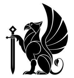Decorative griffin with sword vector
