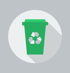 Eco flat icon recycle bin vector
