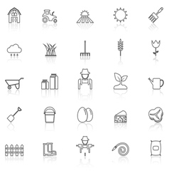 Farming line icons with reflect on white vector image vector image