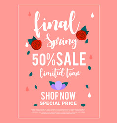Final spring 50 sale limited time banner for vector