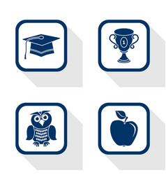flat design icons education set vector image