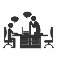 Flat office icon with dialogue between workers on vector image vector image