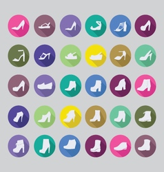 Flat shoes silhouettes icon set fashion collection vector