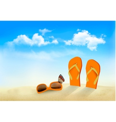 Flip flops sunglasses and a butterfly on a beach vector