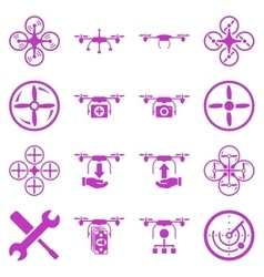 Flying drone flat bicolor icons vector