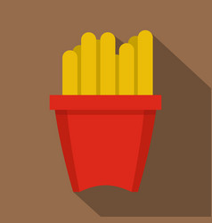 French fries in a red box icon flat style vector