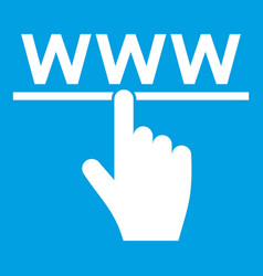 Hand cursor and website icon white vector