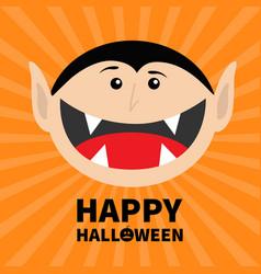 Happy halloween pumpkin text count dracula head vector