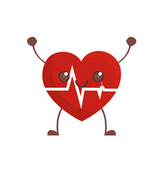 Kawaii heartbeat healthcare image vector