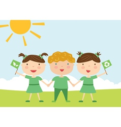 Kids with eco flag vector image vector image