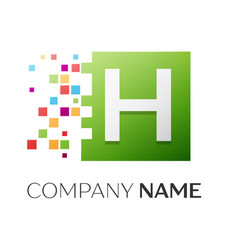 Letter h symbol in the colorful square vector