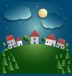 Night landscape with village and meadow background vector