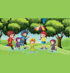 Park scene with children running in the rain vector