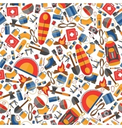 Seamless pattern of flat camping and hiking vector