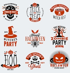 Set of Retro Vintage Halloween Badges Labels vector image