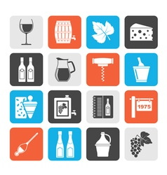 Silhouette wine industry objects icons vector