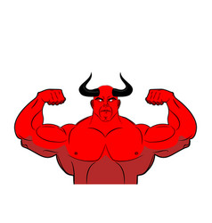strong demon with horns powerful red devil satan vector image vector image