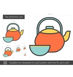 Tea ceremony line icon vector