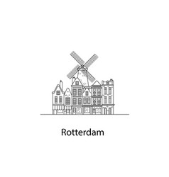the city of rotterdam european houses vector image