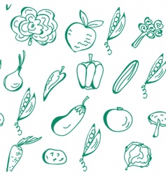 vegetables hand drawn seamless pattern vector image