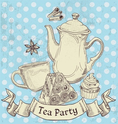 Vintage grunge banner sweets and tea - tea party vector image vector image