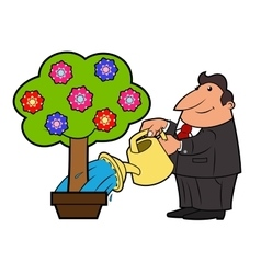 Watering the flower tree 4 vector image