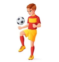 Young football or soccer player boy vector