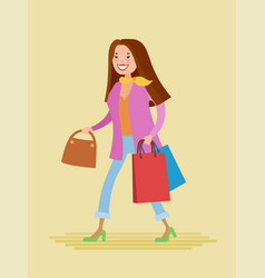 Young woman are shopping vector