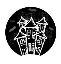 Hand drawn doodle halloween castle black and vector