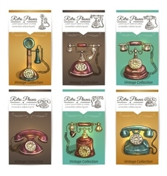 Old retro phones banners or cards vector image