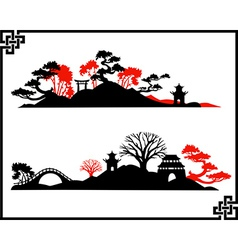 Abstract asian landscape vector
