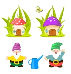 Forest gnomes and mushroom houses vector