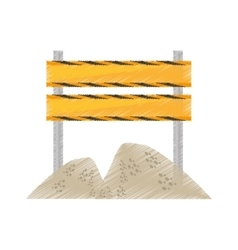 Drawing barrier under construction road sand vector