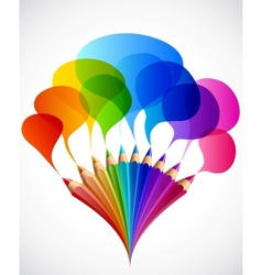 Colorful speech bubbles with art pencils vector image