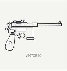 line flat plain military icon handgun vector image
