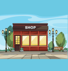 shop store with windows greenery lanterns vector image