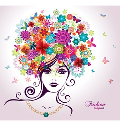 Beautiful woman with flowers vector