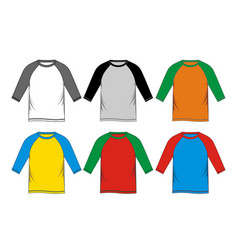 set t-shirt raglan vector image