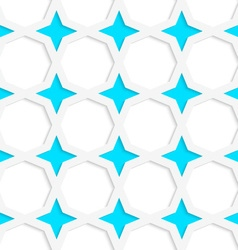 White 3d with colors blue stars vector