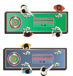 Casino furniture  roulette table top view set 1 vector