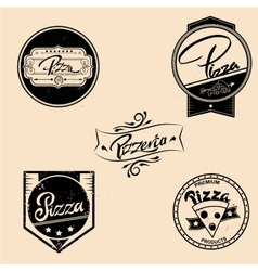 Set of pizza labels design elements vector