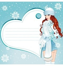 Sexy winter girl greeting card vector