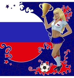 Football poster with girl and russian flag vector