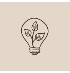 Lightbulb and plant inside sketch icon vector image