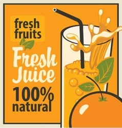Glass of fresh juice and orange vector