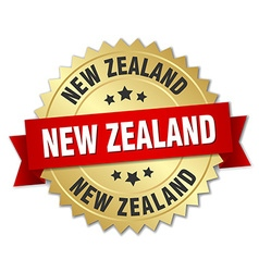 New zealand round golden badge with red ribbon vector