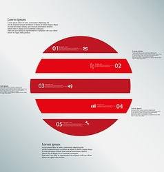 Circle horizontaly divided to five red parts on vector